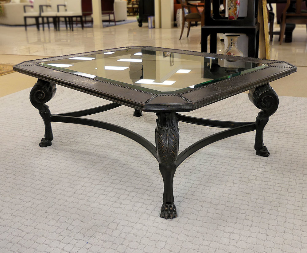 SOLD Glass Top Iron Cocktail Table with Tooled Metal Border