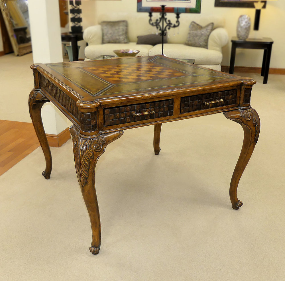 SOLD Leather Top Game Table with Coconut Shell Accents