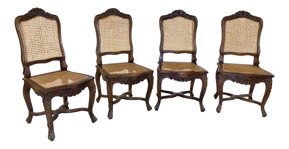Set of 4 French Country Carved Wood Caned Dining Chairs  $995