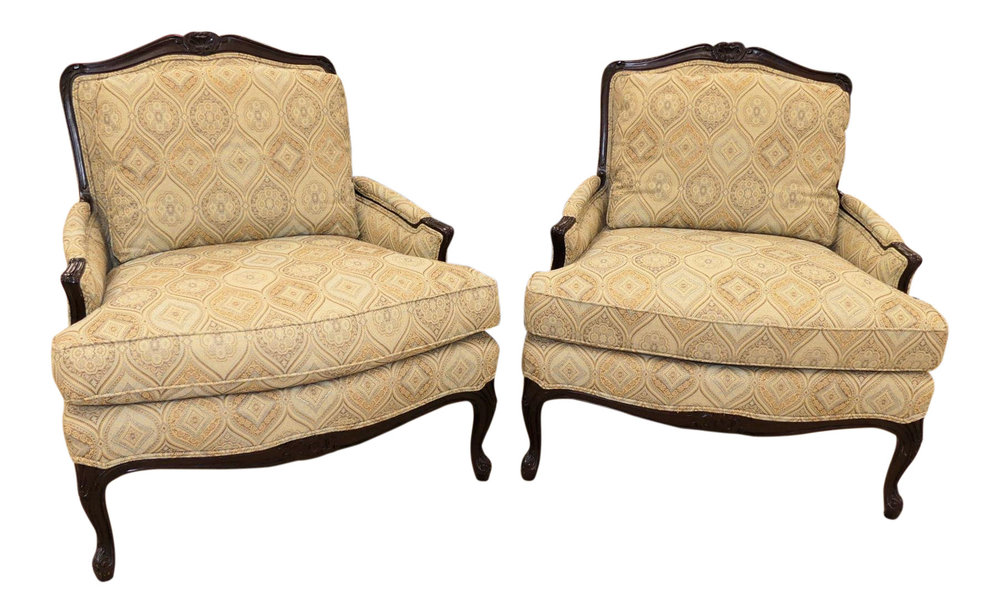 Pair of Calico Corners Custom Bergere Chairs   ON HOLD