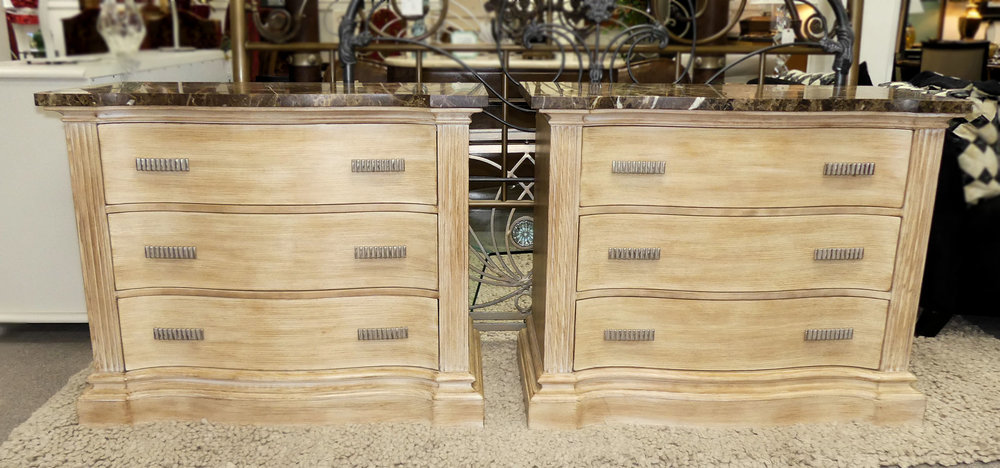 SOLD Pair of Hickory White Marble Top Bedside Chests or Nightstands