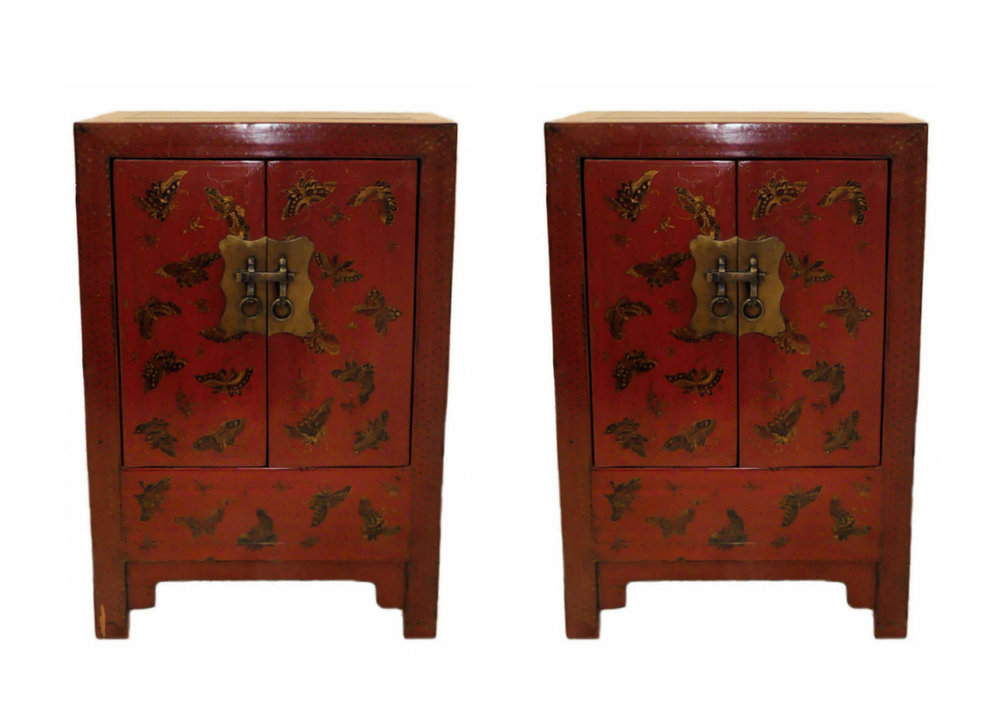"Pair of Paint Decorated Asian Chinoiserie Nightstands or End Tables  Price: $695 Measurements :  23.5""W x 16.5""D x 35.25""H"