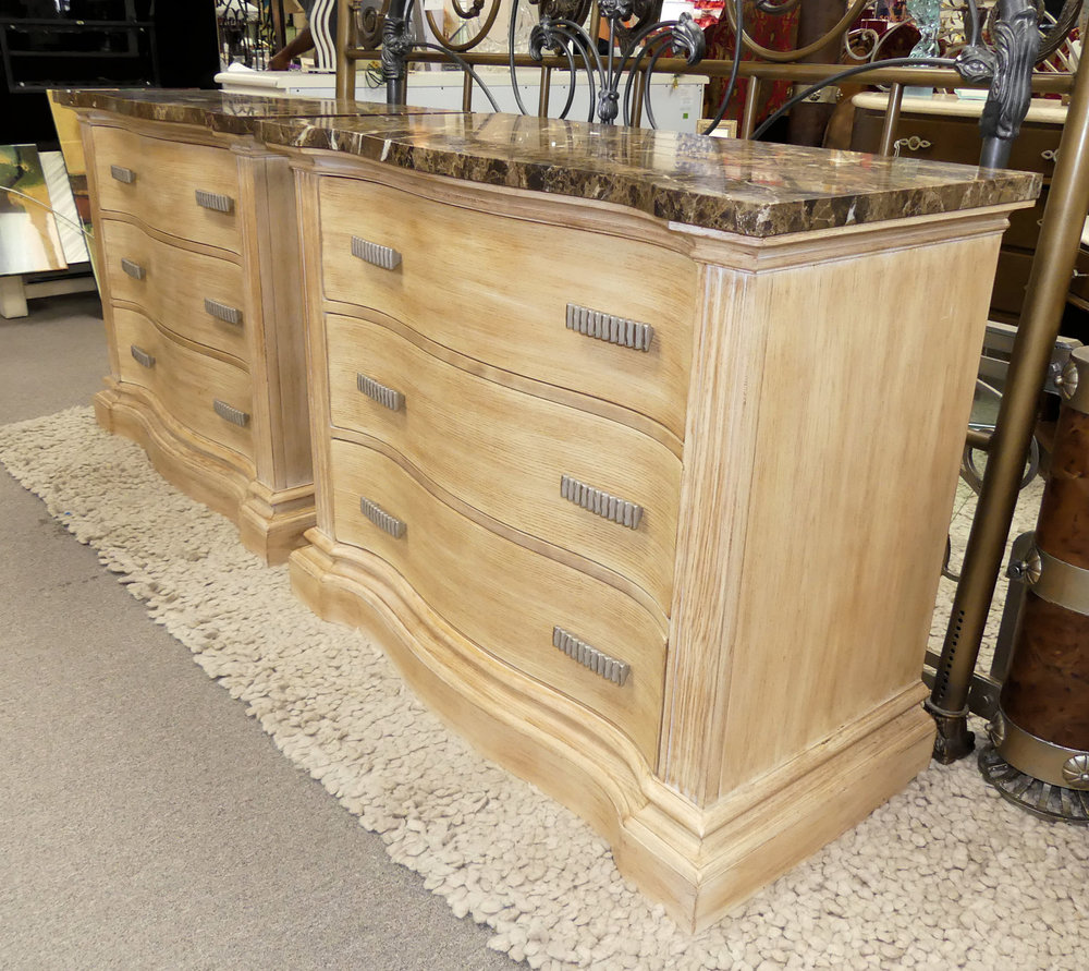 SOLD Pair of 2 Hickory White Marble Top Chests