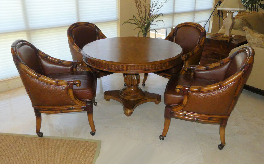 SOLD Schnadig Game Set with Leather Chairs on Castors