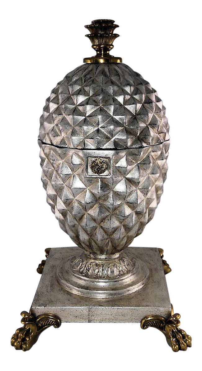 Large Maitland Smith Decorative Silver Pineapple Box with Brass Mounts   REDUCED: $649