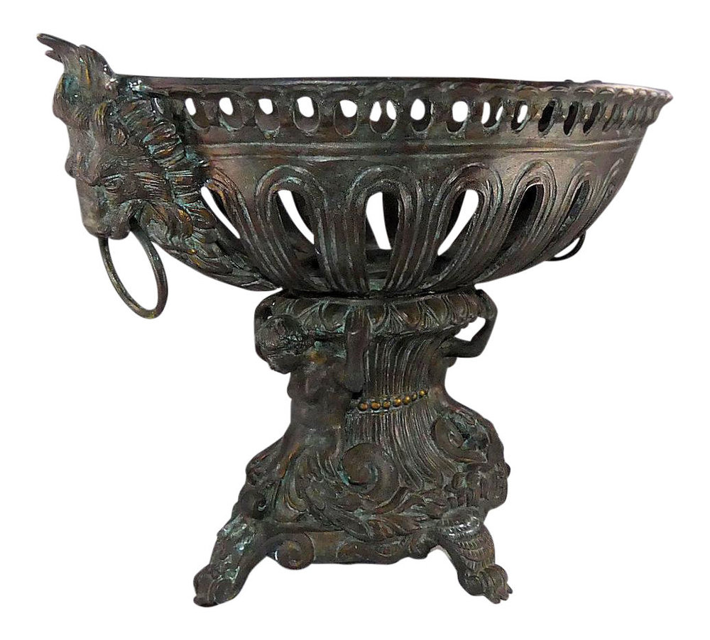 Maitland Smith Footed Bronze Centerpiece Bowl   REDUCED: $1,100