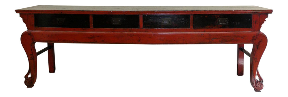 SOLD Large Rustic Asian Paint Decorated Alter Table or Console Table