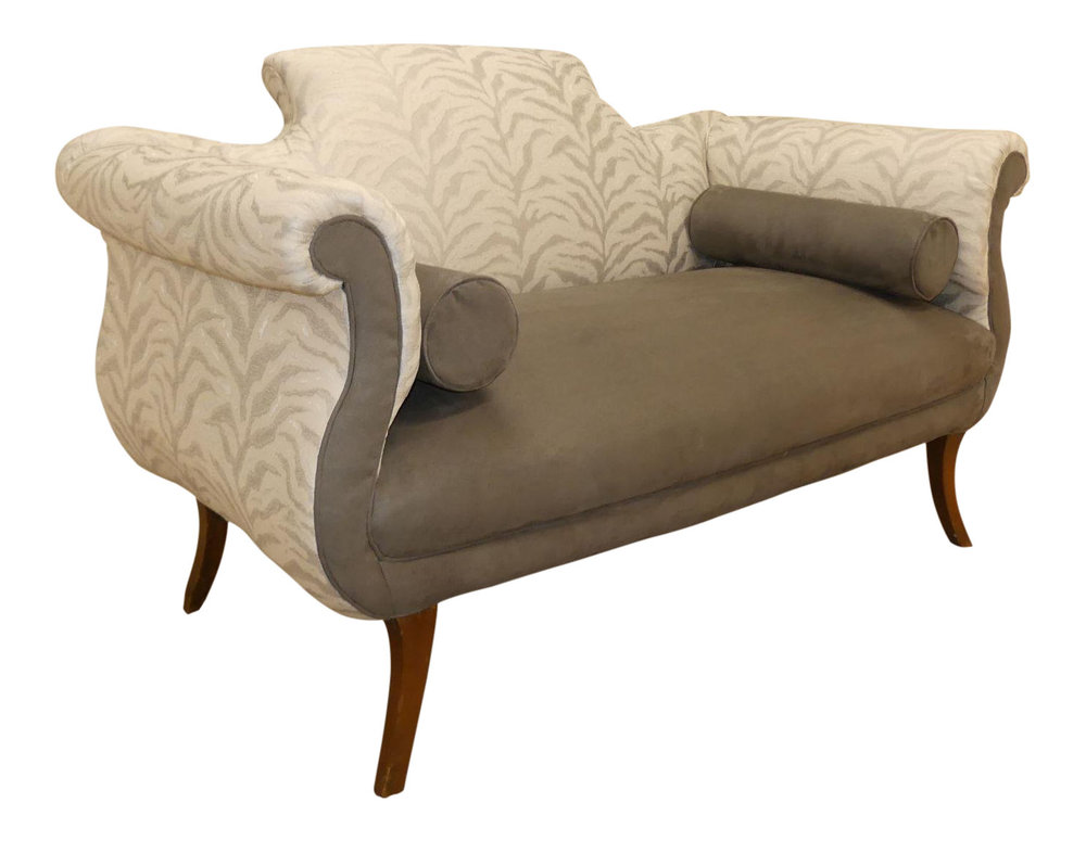 SOLD 1920s Duncan Phyfe Loveseat Updated with Contemporary Fabric