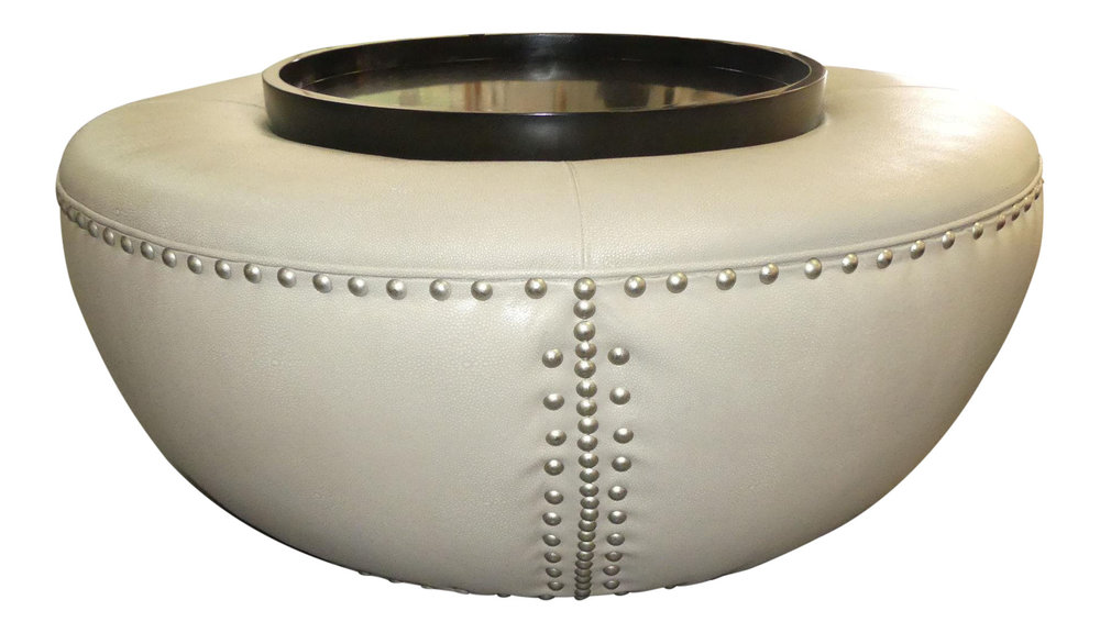 Shagreen Leather Cocktail Ottoman w Tray Top   REDUCED: $2,000