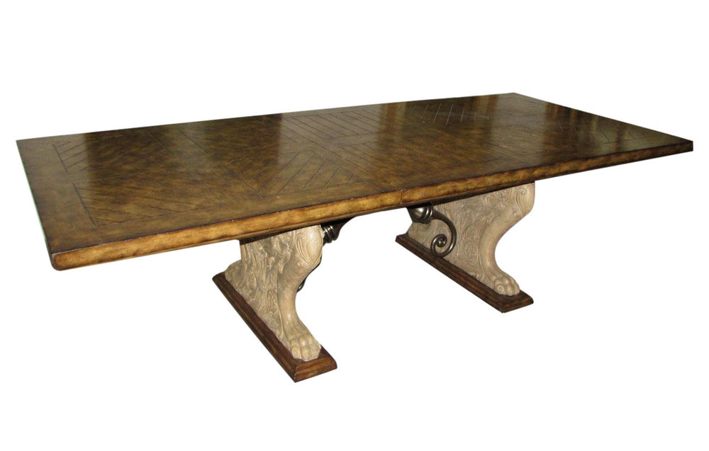 Maitland Smith Double-Pedestal Stone Base Old-World Plank Style Top Dining Table   REDUCED: $2,495  / Previously: $3,495