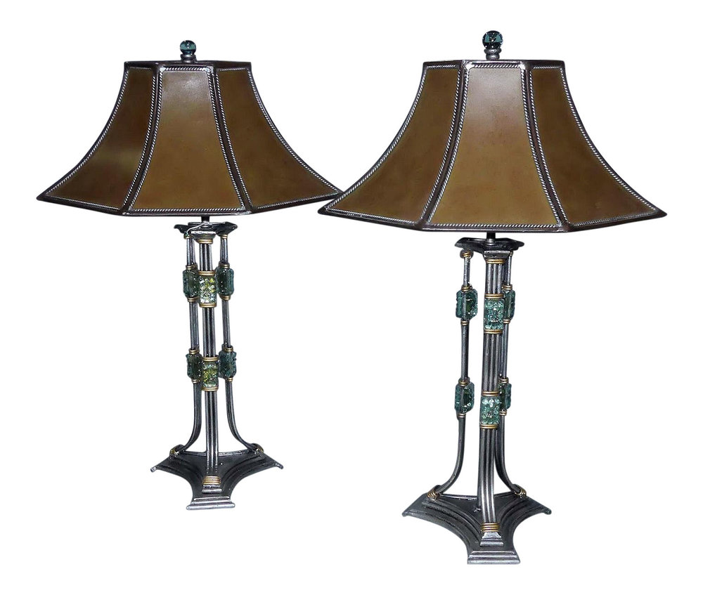 Pair of 2 Gun Metal and Art Glass Lamps  $1,400 (free domestic shipping)