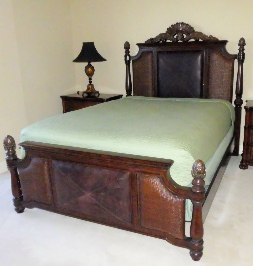 Tommy Bahama Queen Size Bed with Leather and Rattan Accents  $1,100