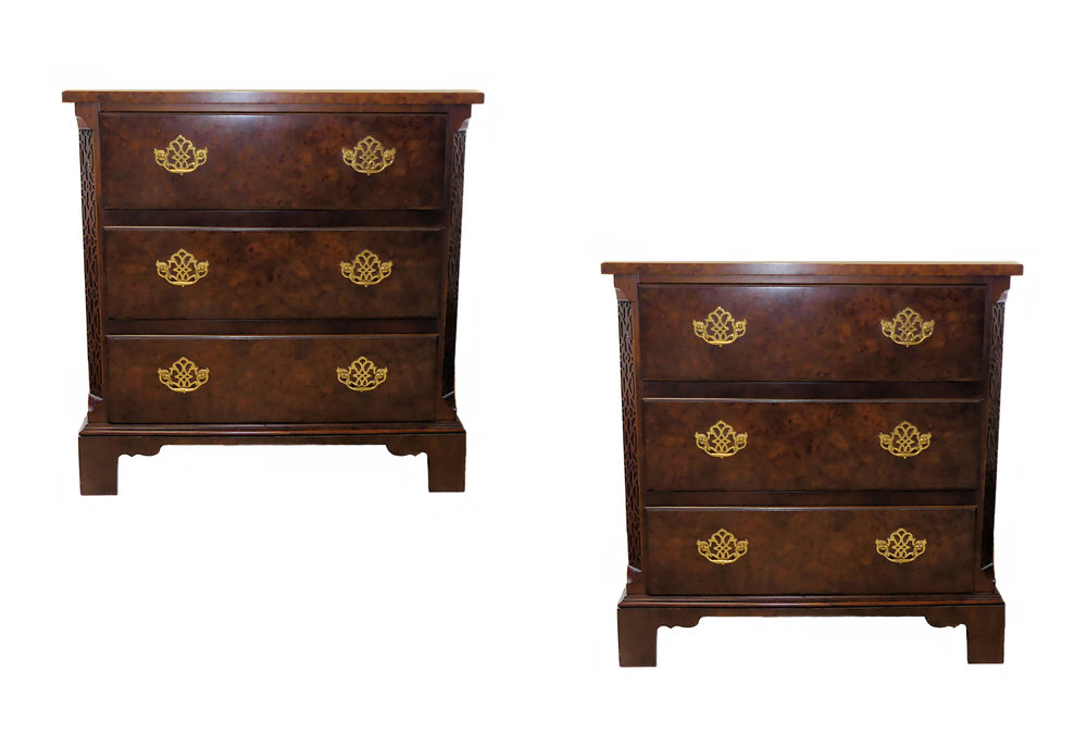 SOLD Pair of 2 Baker Mahogany Chinese Chippendale Bedside Chests