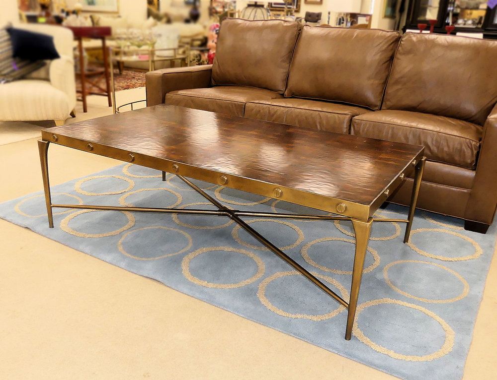 SOLD Theodore Alexander Brass and Wood Oyster Bolt Coffee Table