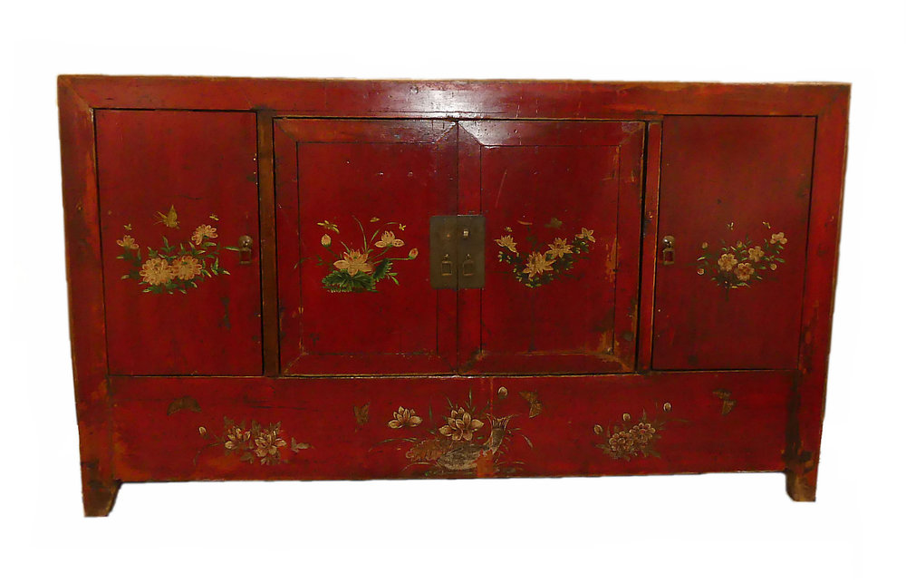 Rustic Hand Painted Mongolian Credenza or Cabinet   ON HOLD