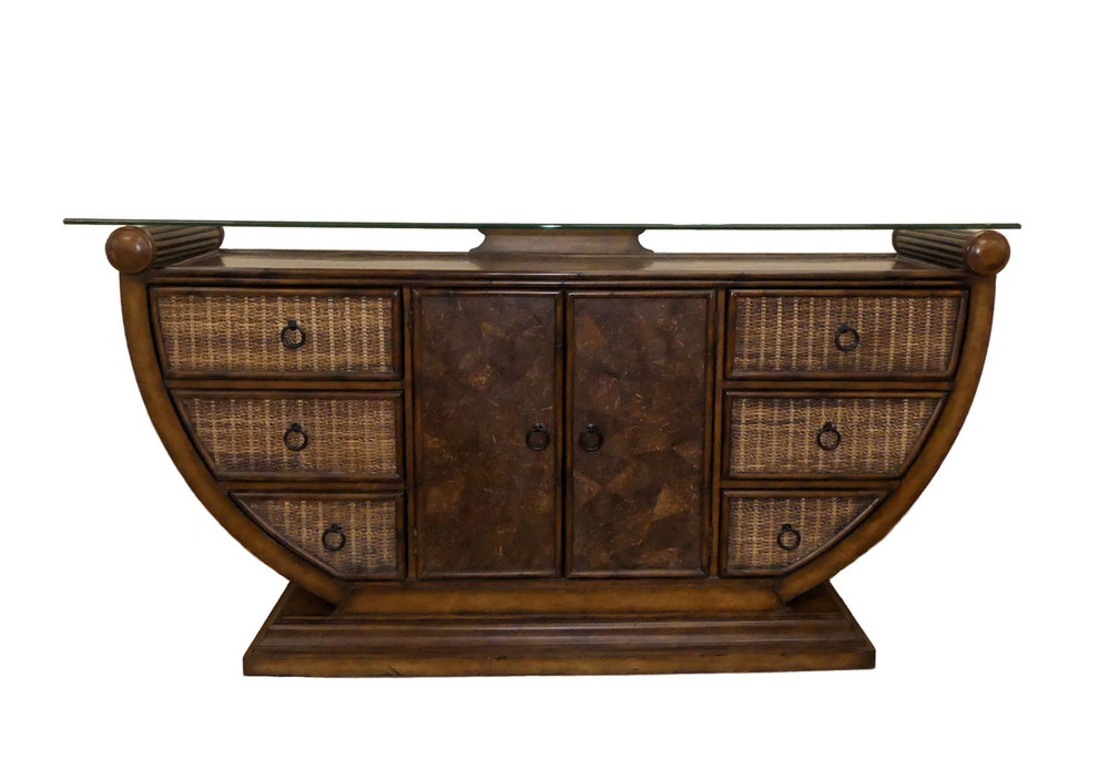 Bamboo, Woven Abaca and Coconut Shell Credenza with Floating Glass Top  $1,595