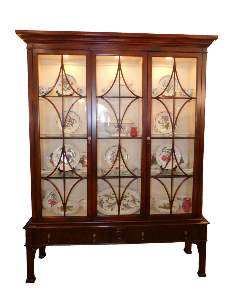 SOLD Hickory White Asian Contemporary Innovation Lighted China Display Cabinet