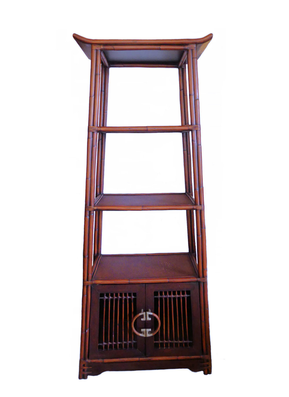 Palecek Asian Ming Style Bamboo & Rattan Etagere or Bookcase  $895