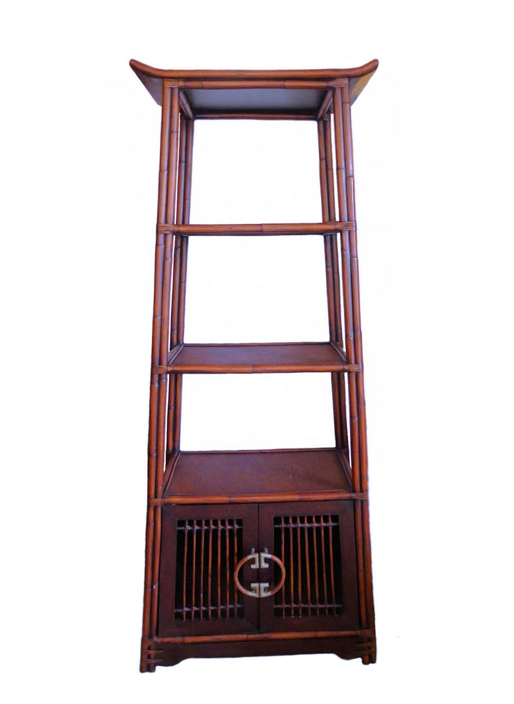 SOLD Palecek Asian Ming Style Bamboo & Rattan Etagere