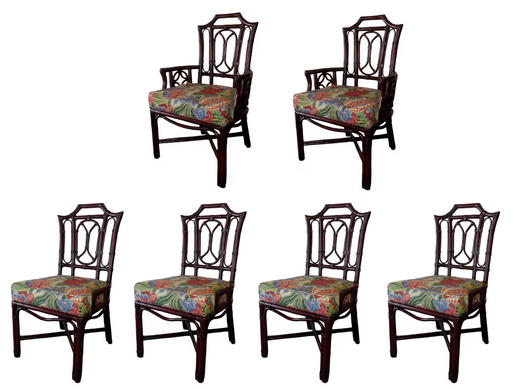 SOLD Ficks Reed Bamboo Pagoda Chippendale Dining Chairs