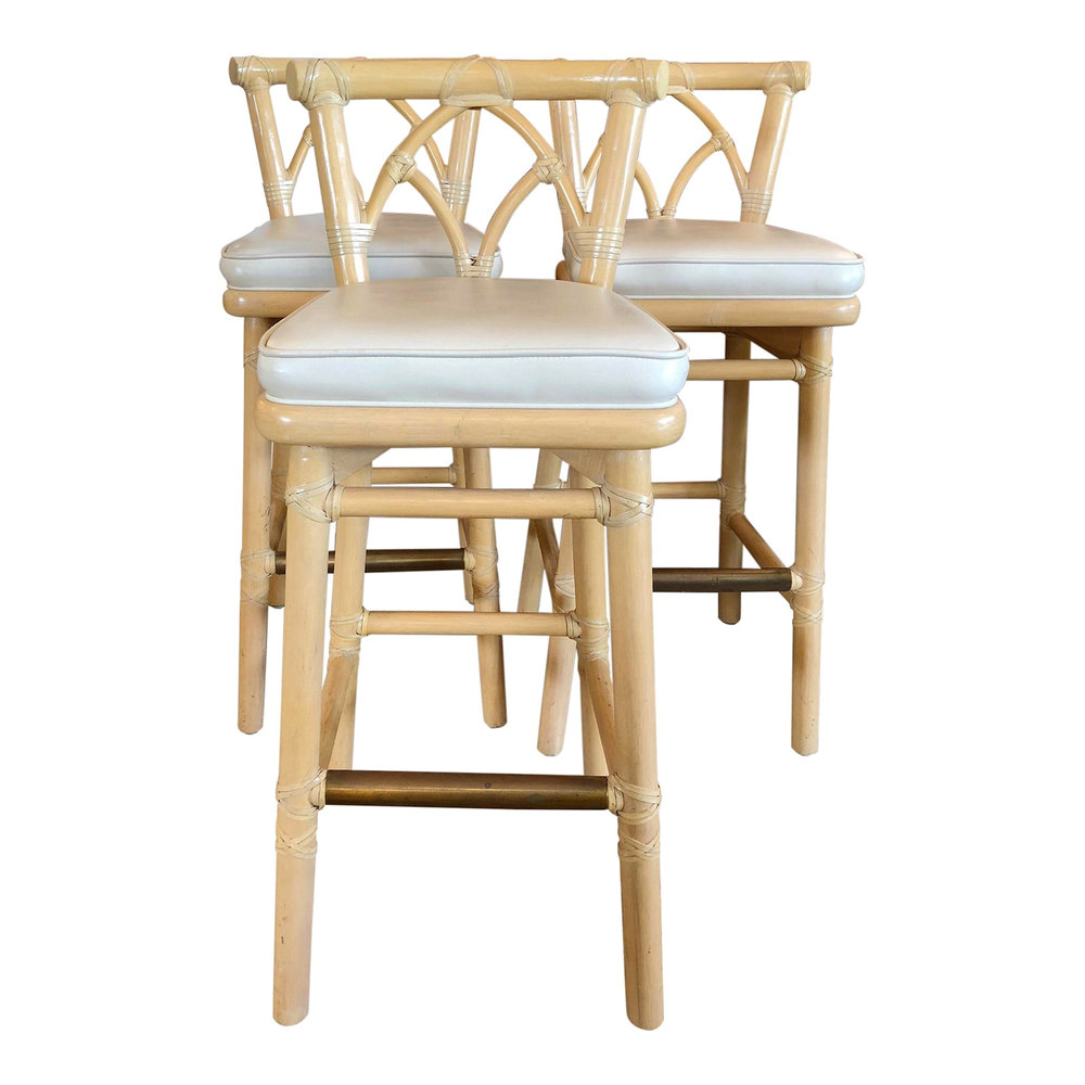 SOLD Set of 3 Vintage McGuire Bamboo and Rawhide Barstools