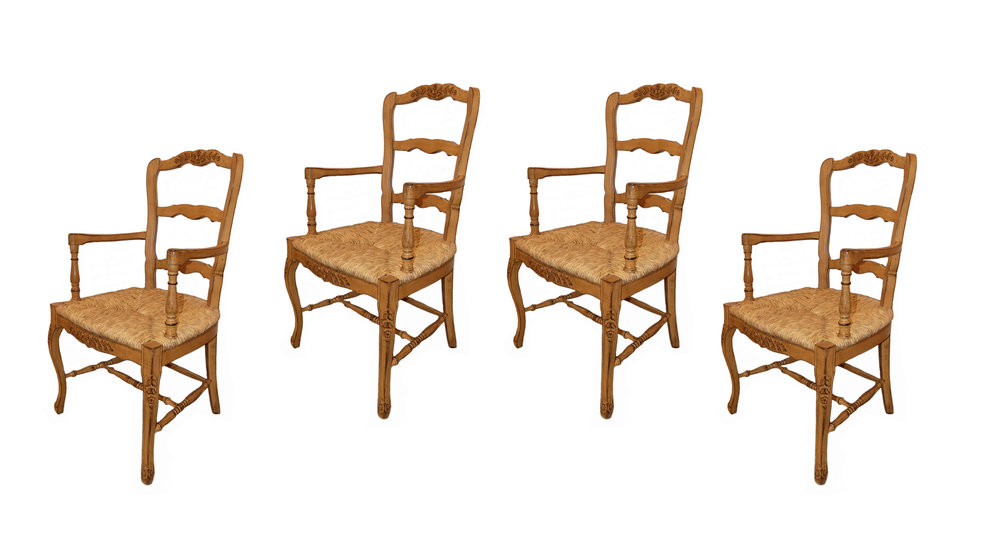 Carved Wood French Country Rush Seat Dining Armchairs  $995 / Set of 4