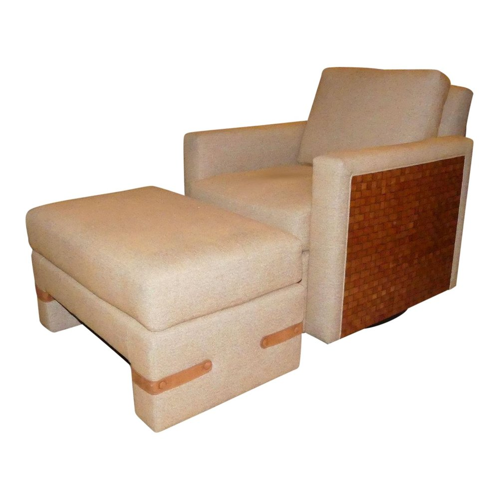 SOLD  Directional Leather Trimmed Swivel Chair and Ottoman