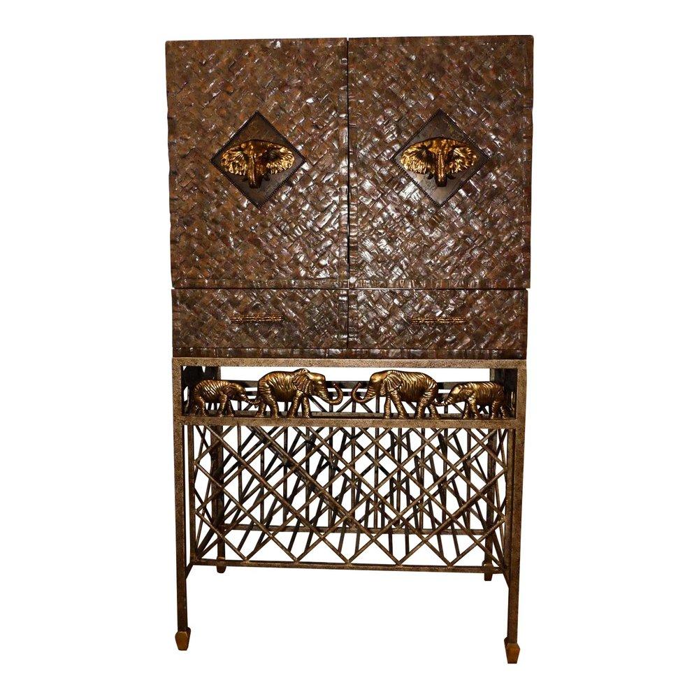 SOLD Maitland Smith Wine Bar Cabinet with Bronze Elephant Mounts