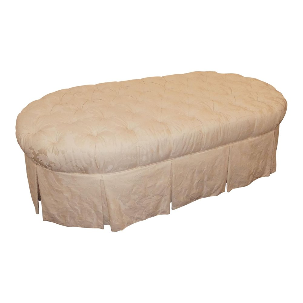 SOLD Century Furniture Damask Tufted Ottoman