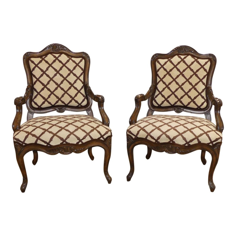 SOLD Pair of 2 Embroidered Suede Bergere Chairs
