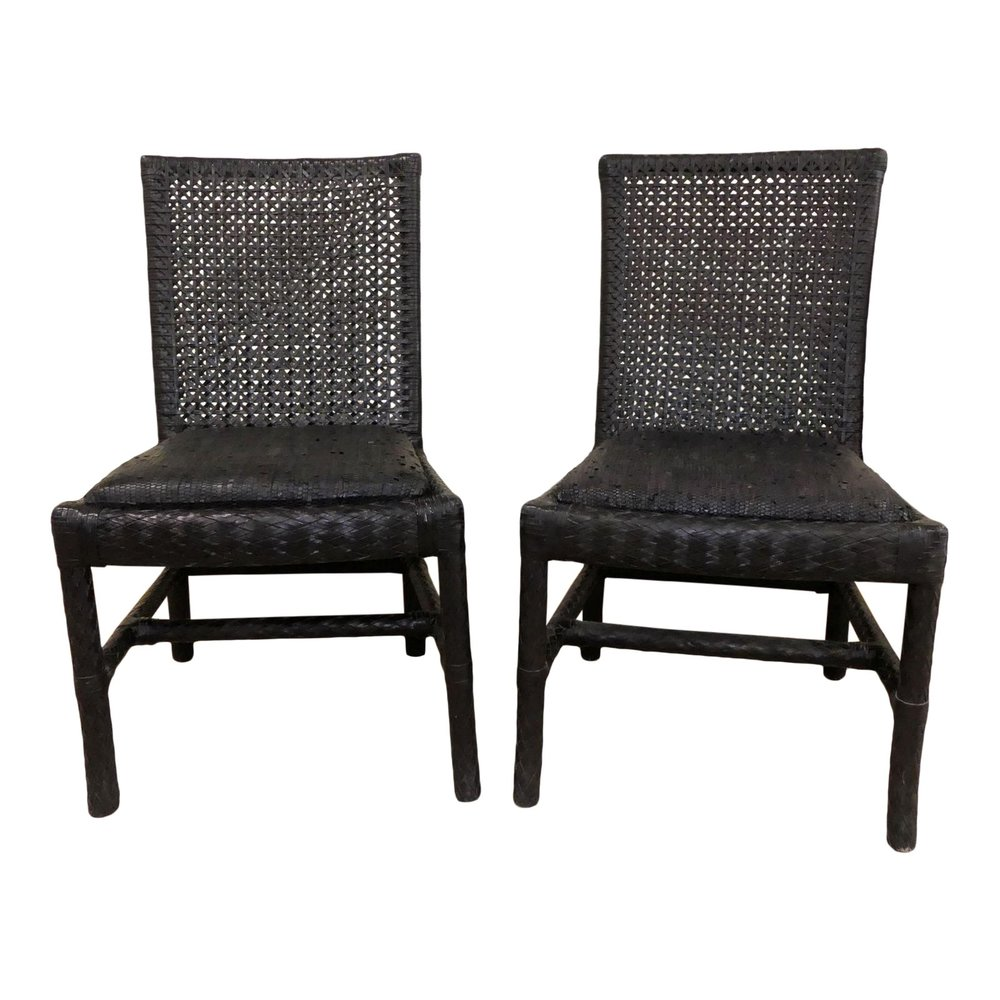 Oggetti Woven Leather Side Chairs  $995 / Pair