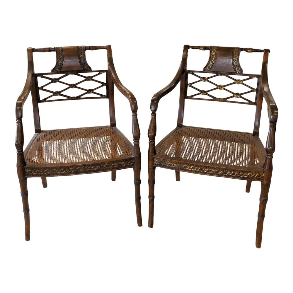 SOLD john Richard Traditional Regency Cane Seat Armchairs