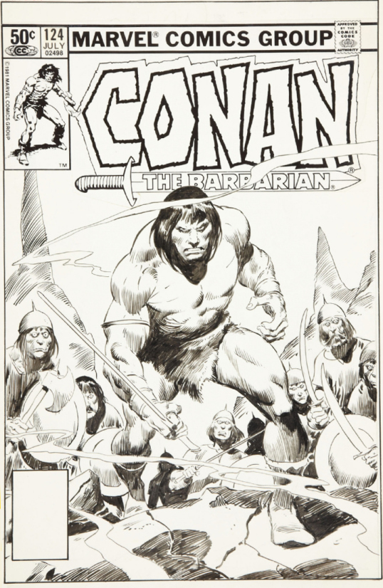 John Buscema cover for Marvel's Conan the Barbarian #124.