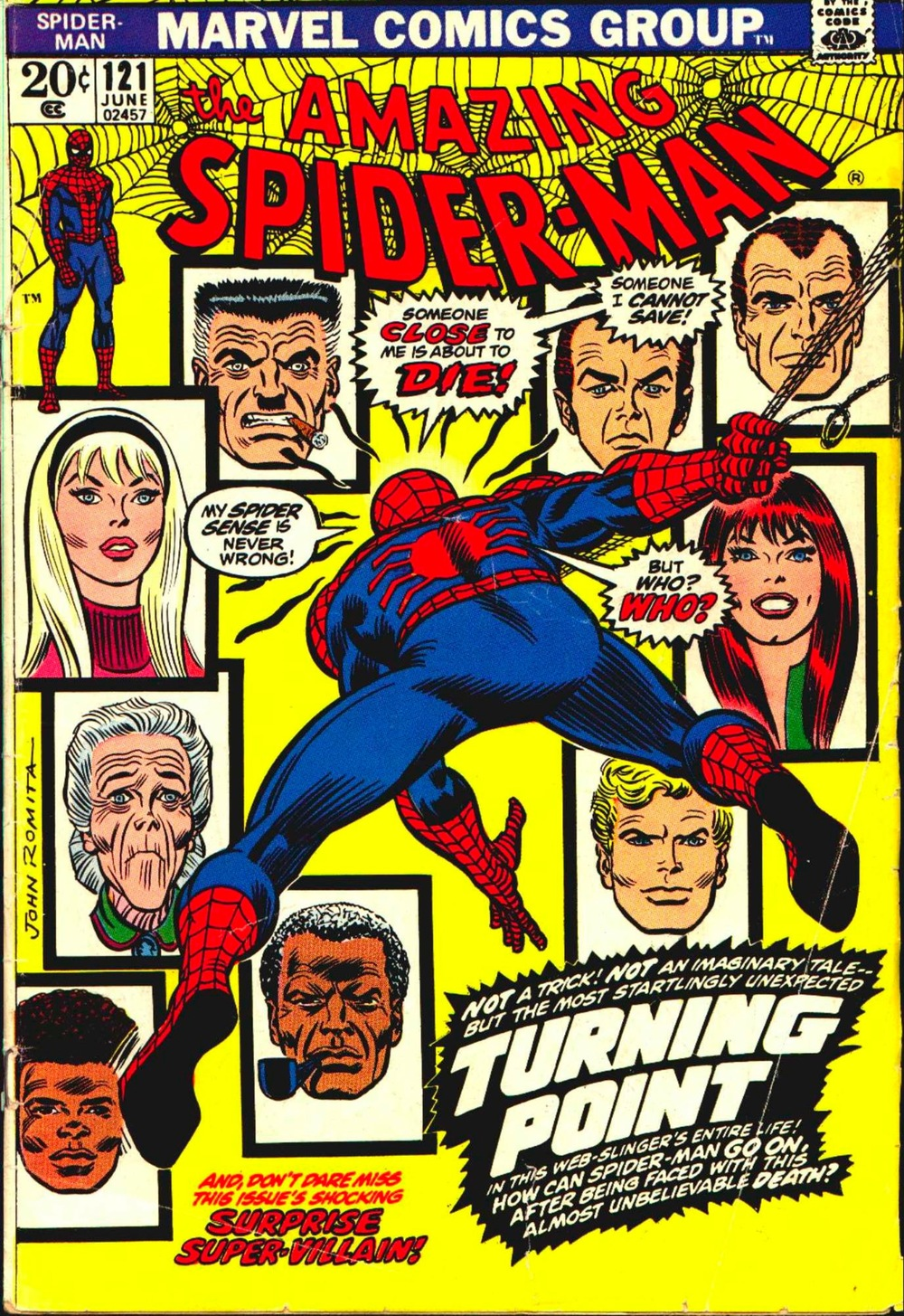 Amazing Spider-Man #121, The Night Gwen Stacy Died cover by John Romita, Sr.