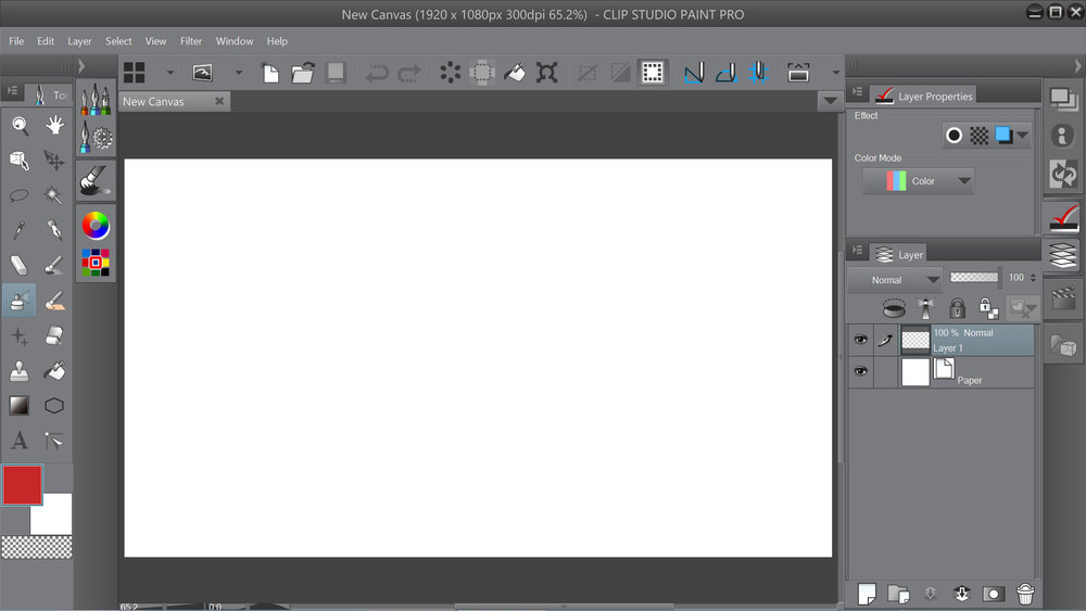 The new airy default layout of Clip Studio Paint 1.2.7, hopefully coming soon to Manga Studio.