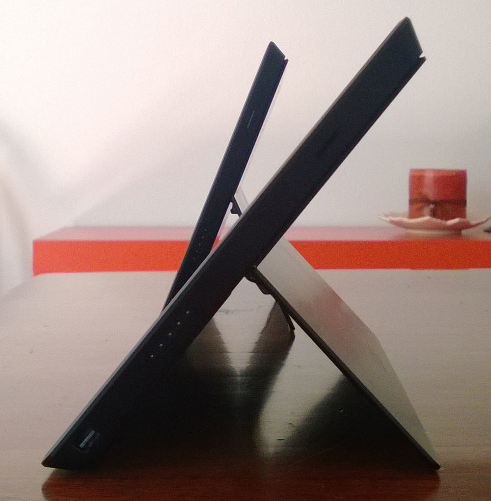 The Surface Pro 2 resting in its new position in the foreground