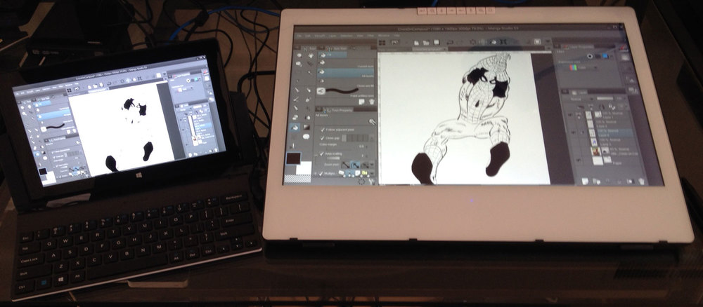 Connecting the Surface Pro 2 with the just arrived docking station was just as effortless. No special driver means the SP continues working as is, allowing finger pan, zoom, rotate with the left hand while painting with the right.