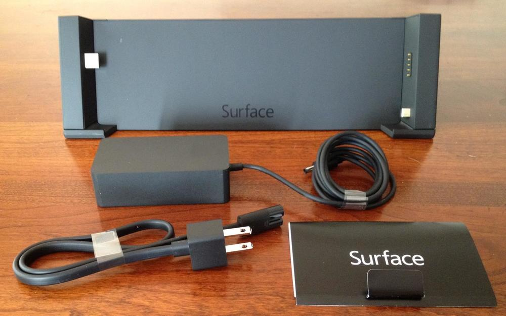 The Docking Station is a C-Clamp type design, with USB connector on the left and power and mini DisplayPort connectors on the right. It has its own power supply, so you can leave the Surface Pro's native supply stored safely in your briefcase or overnight bag.