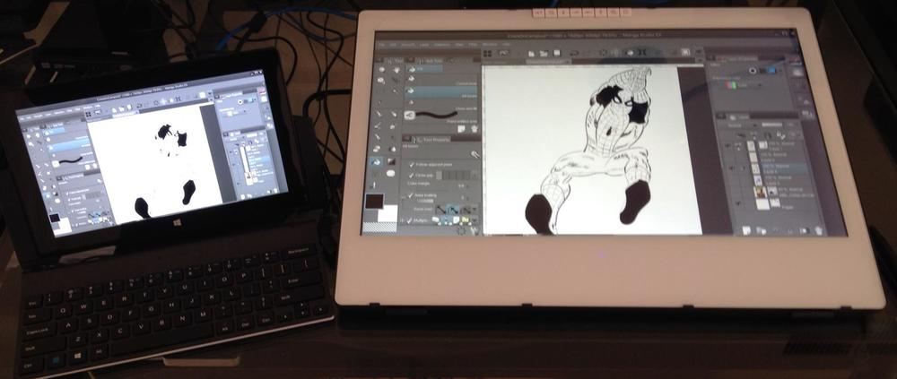 With the Surface Pro 2 docked and tethered to a monitor tablet like the Yiynova MVP22U (V2), you can start a sketch on your couch or on the road and continue working on it on the larger screen without skipping a beat.