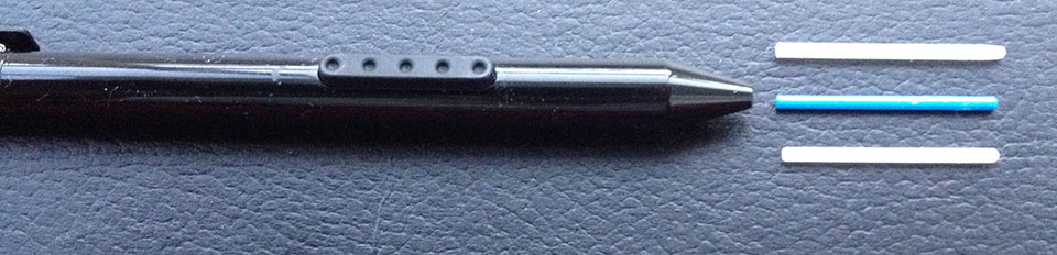 The standard Surface Pro pen's blue nib (center) doesn't match either the older wider nib above or the shorter Stylus Feel nib below.