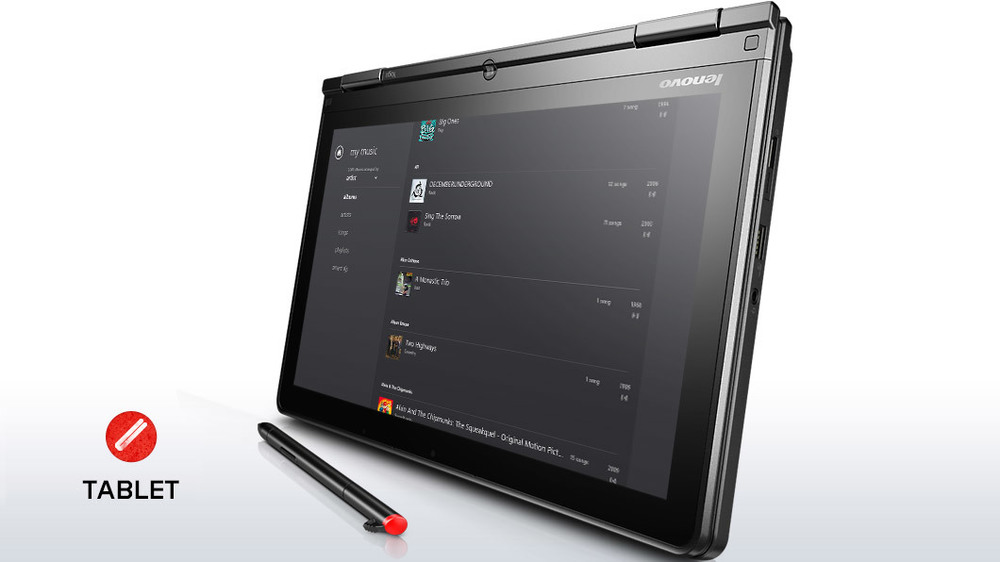 The Lenovo Thinkpad Yoga in tablet mode, with pen. Both models currently sold in the US include the Wacom digitizer.