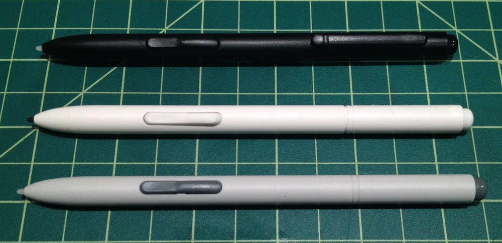 Except for its dual button, the Modbook Pro Digitizer Pen is almost identical to the much lower priced Samsung (above) and Wacom pens (below).