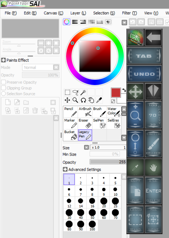 Paint Tool SAI's crowded UI really benefits from the custom dock, but I'm not certain these are the most appropriate functions to include. Your suggestions are welcomed.