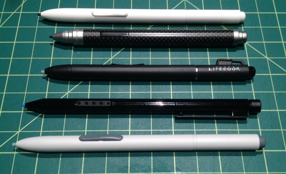 The Fujitsu pen (center) is the same length as the Wacom Bamboo Feel Carbon above it, but that pen's cap makes it significantly longer. The Modbook Pro pen (top) is the only other two button replacement option I've tested, but the T-5000 is priced closer to the generic single button Wacom Penabled Tablet PC eraser pen (bottom).