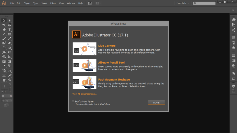 The new Adobe Illustrator CC interface is much more tablet and touch friendly. In this screenshot, Windows 8 interface scaling is set to the default 150%.