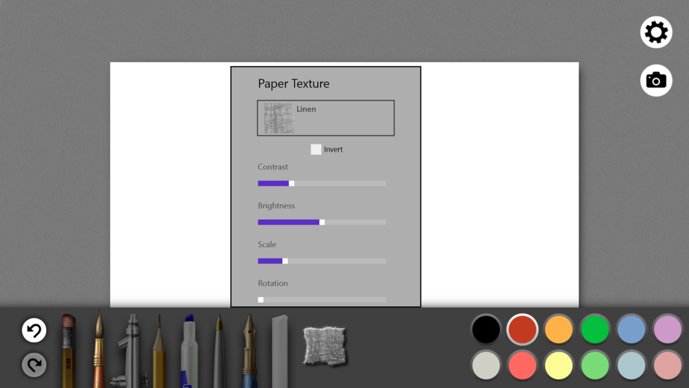 There are 18 standard paper textures, each with its own set of customization options.