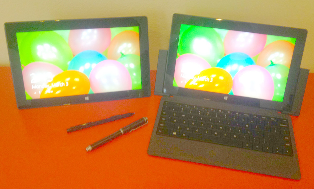 I had just purchased the Surface Pro (left) when I decided to launch SurfaceProArtist.com and posted our first article on March 3, 2013. Less than a year later, the Surface Pro 2, docking station, type cover 2 and Wacom Bamboo Stylus Feel Carbon joined the family.