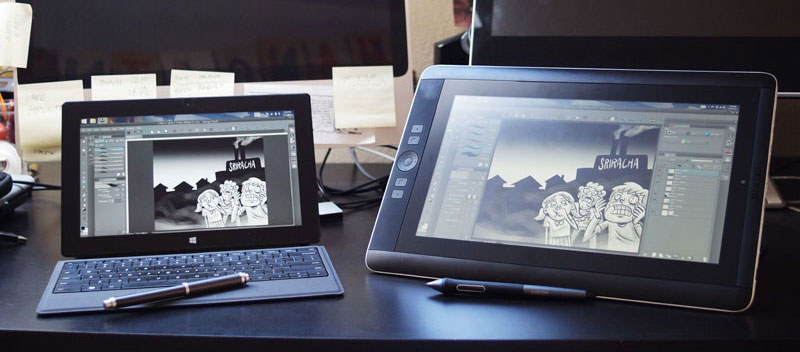 Illustrations by Jonathan Hill, side by side on the Surface Pro 2 and the Wacom Cintiq Companion.