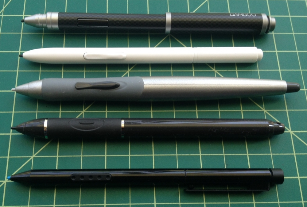 The Axiotron Studio Pen (center) is the largest tablet pc stylus I've tested. Its replacement, the white Modbook tablet pc pen is extremely generic and too light and small for my tastes. The closest pen still in production is the Motion Computing stylus (second from bottom), but its grip and single button are much smaller. The Wacom Bamboo Stylus Feel Carbon is pictured at the top and the standard Surface Pro pen is at the bottom.