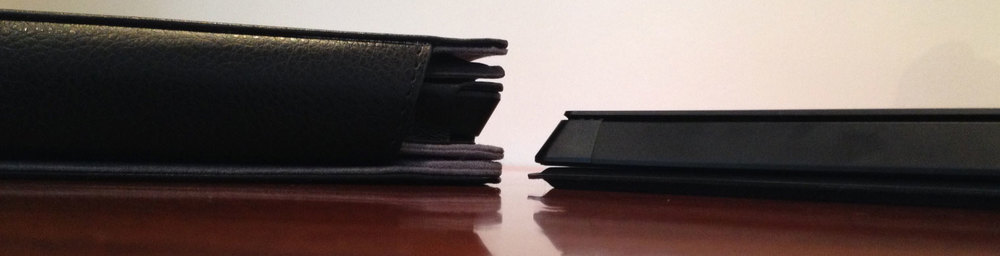 The spine of the ProKASE (left) is about 1.5 inches thick, about twice the size of the Surface Pro with type cover.